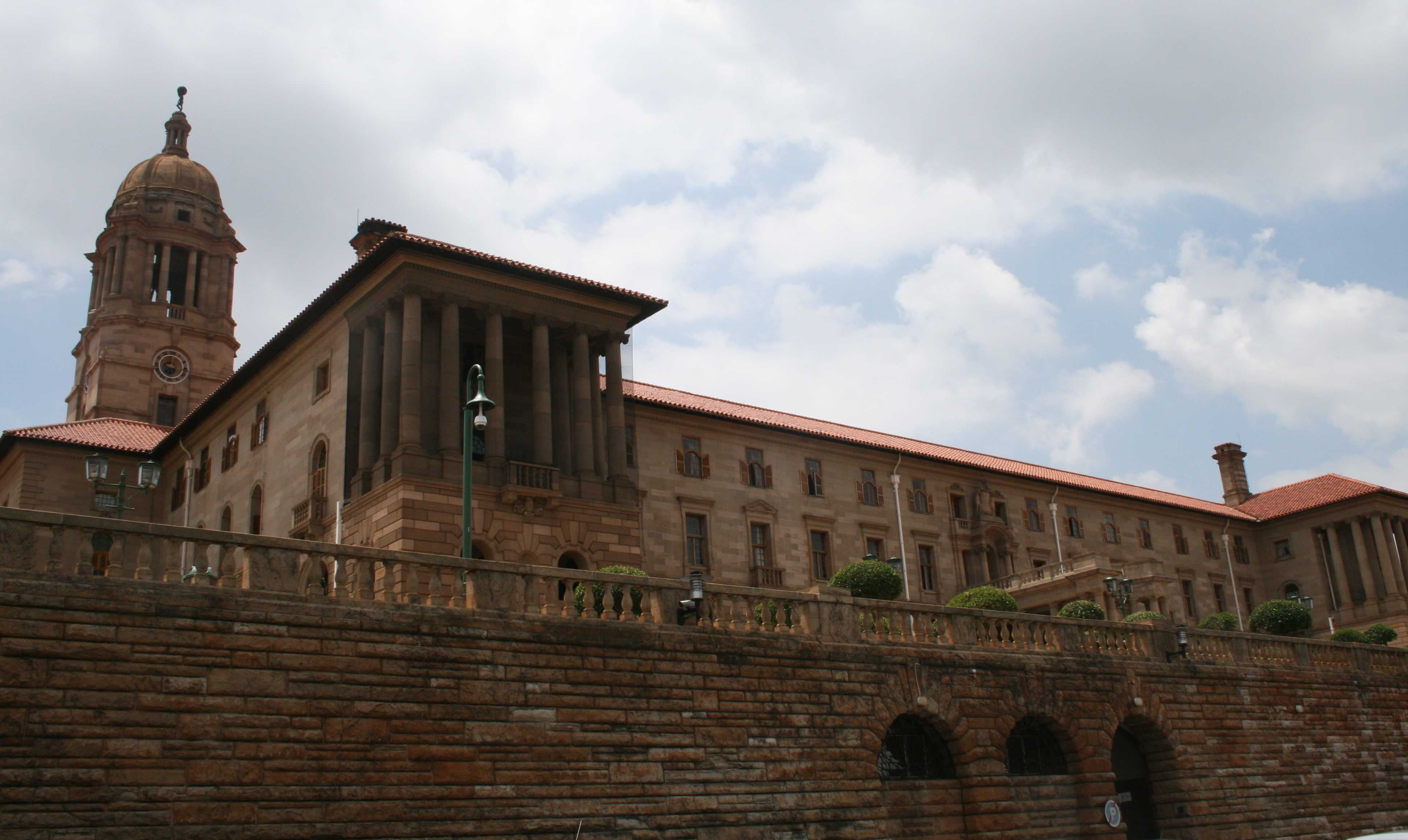 Looking up at the East Wing of the Union Buildings.